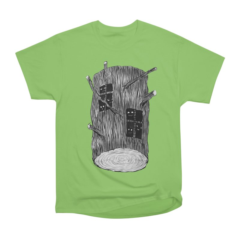 Tree Log With Forest Creatures Men's Heavyweight T-Shirt by Boriana's Artist Shop