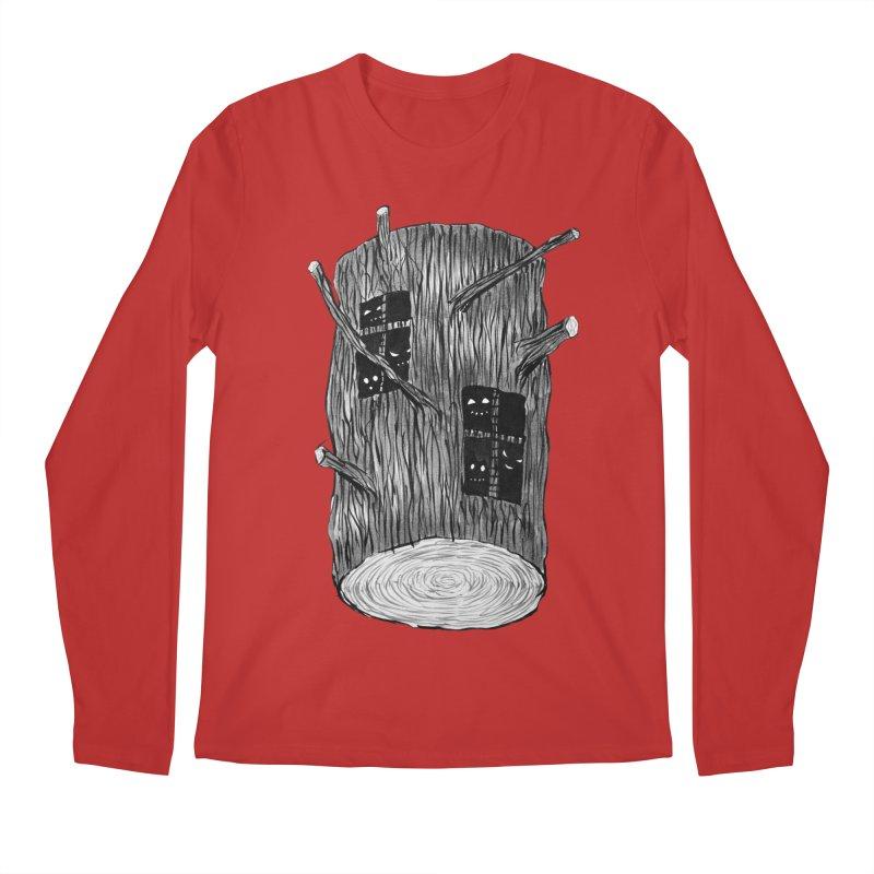 Tree Log With Forest Creatures Men's Regular Longsleeve T-Shirt by Boriana's Artist Shop