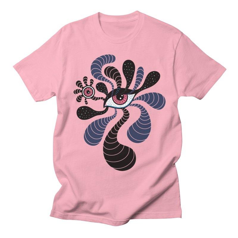 Psychedelic Hypnotic Art Creepy Double Pink Eye Women's Regular Unisex T-Shirt by Boriana's Artist Shop