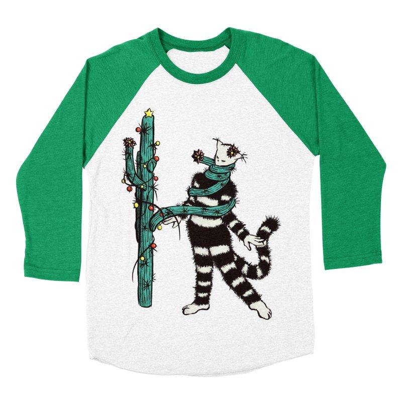 Christmas Cactus Hugs Cute Kitty Women's Baseball Triblend Longsleeve T-Shirt by Boriana's Artist Shop