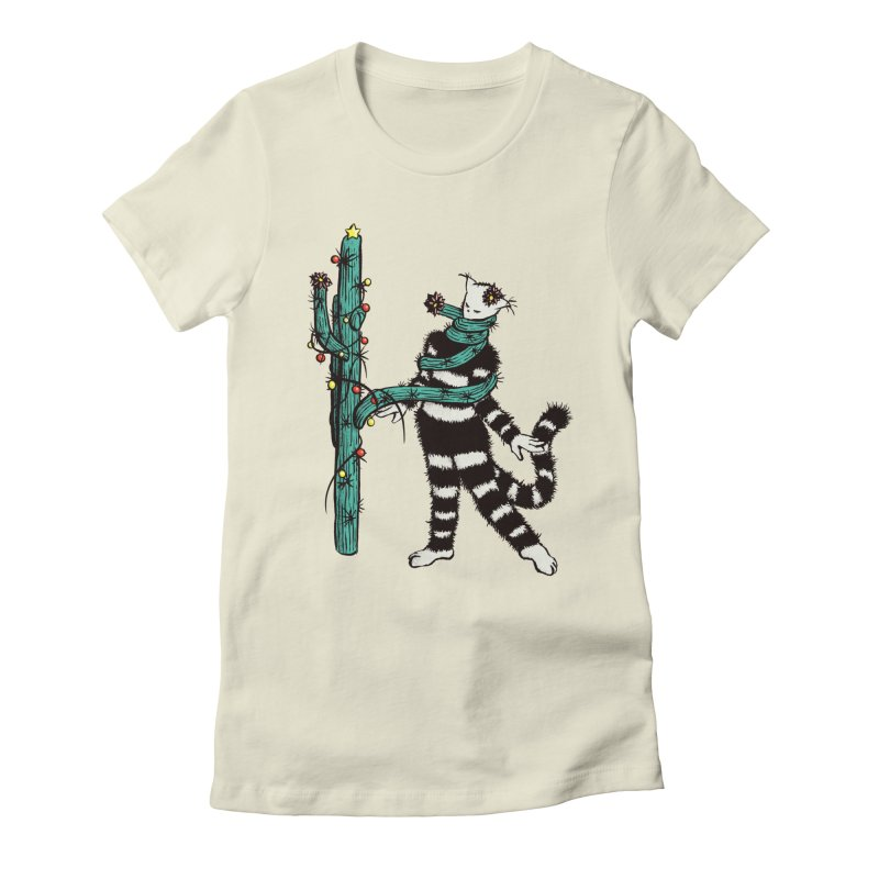 Christmas Cactus Hugs Cute Kitty Women's Fitted T-Shirt by Boriana's Artist Shop