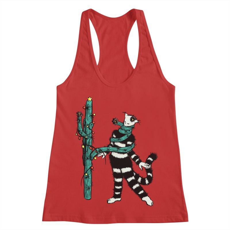 Christmas Cactus Hugs Cute Kitty Women's Racerback Tank by Boriana's Artist Shop
