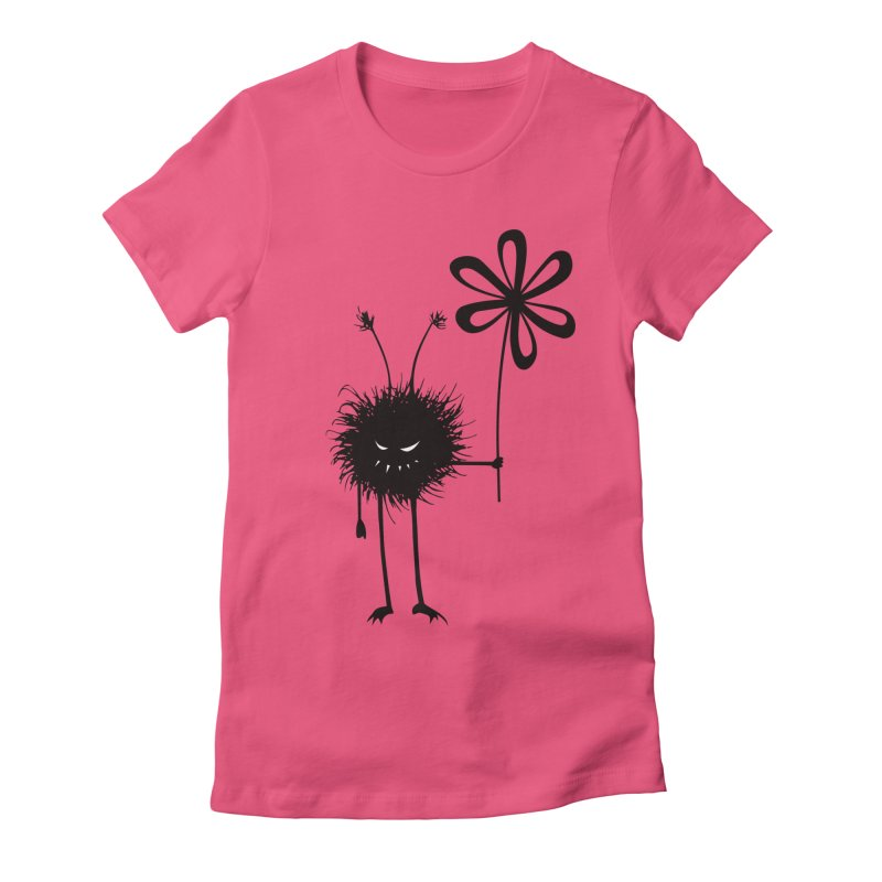 Hairy Evil Flower Bug in Women's Fitted T-Shirt Fuchsia by Boriana's Artist Shop