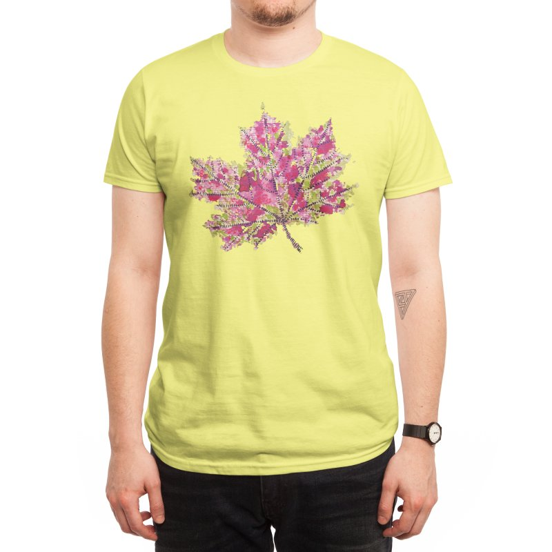 Abstract Colorful Watercolor Autumn Leaf Men's T-Shirt by Boriana's Artist Shop