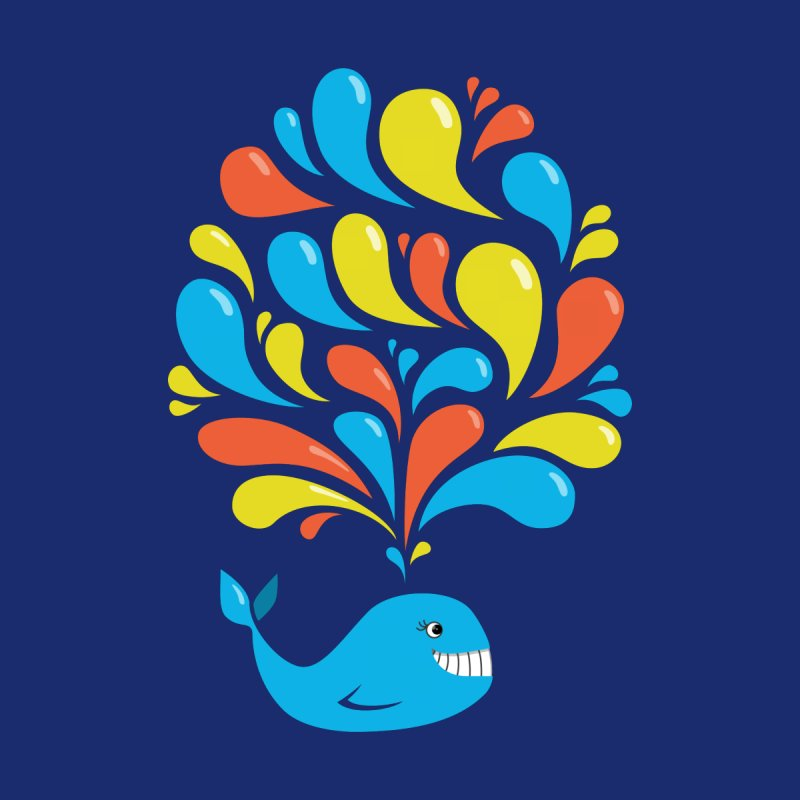 Colorful Happy Whale by Boriana's Artist Shop