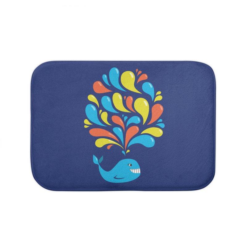 Colorful Happy Whale Home Bath Mat by Boriana's Artist Shop