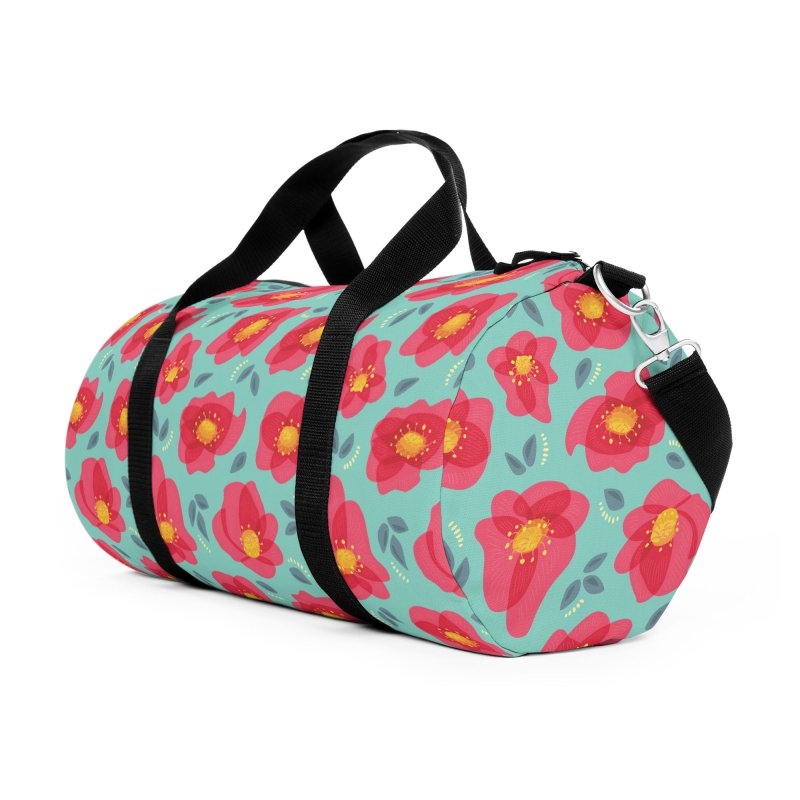 Pretty Pink Spring Flowers Accessories Duffel Bag Bag by Boriana's Artist Shop