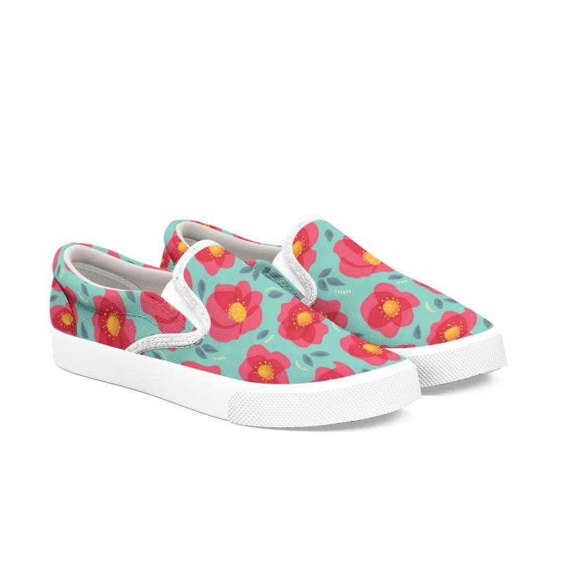 Pretty Pink Spring Flowers Men's Slip-On Shoes by Boriana's Artist Shop