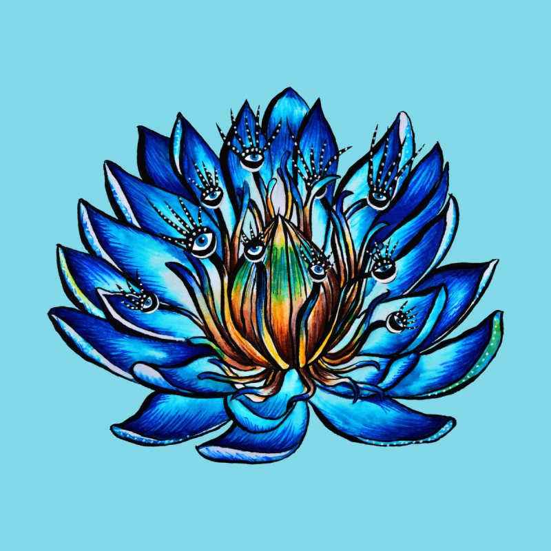 Blue Lily Flower Monster With Weird Eyes by Boriana's Artist Shop