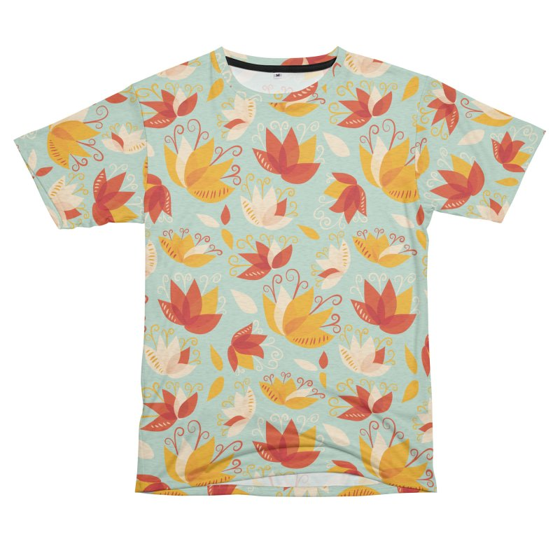 Abstract colorful lily flowers Women's Unisex French Terry T-Shirt Cut & Sew by Boriana's Artist Shop