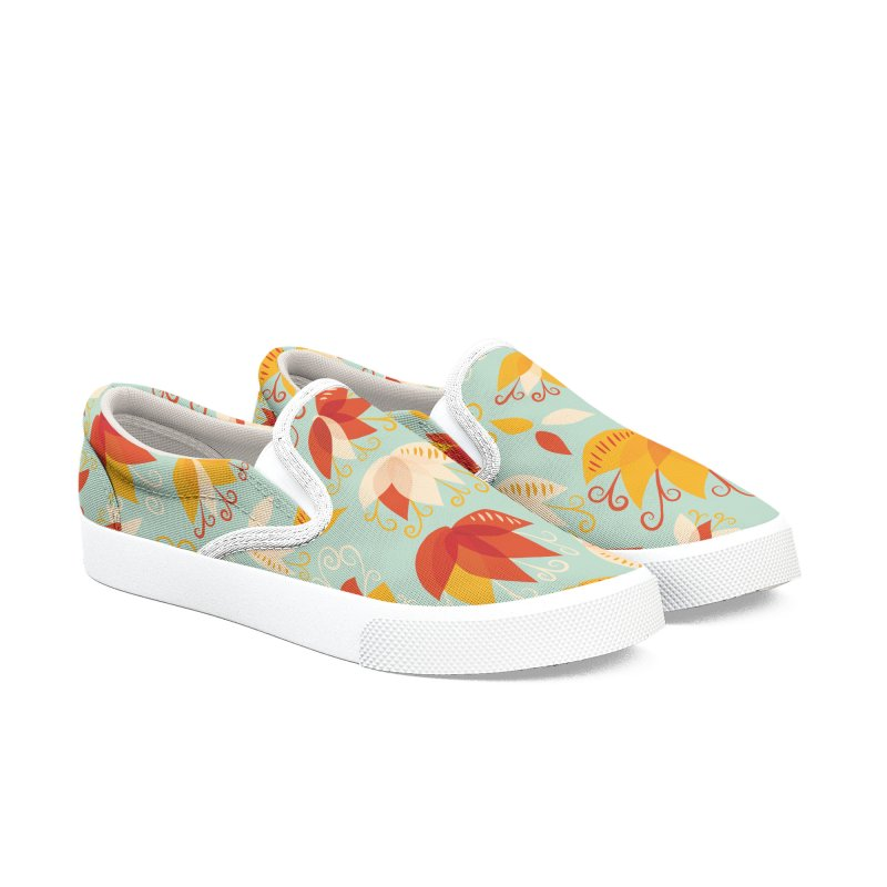 Abstract colorful lily flowers Women's Slip-On Shoes by Boriana's Artist Shop