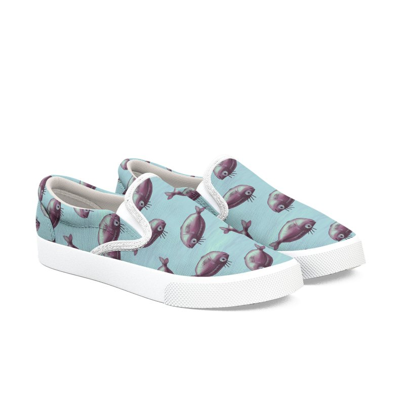 Funny Fish With Fancy Eyelashes Men's Slip-On Shoes by Boriana's Artist Shop