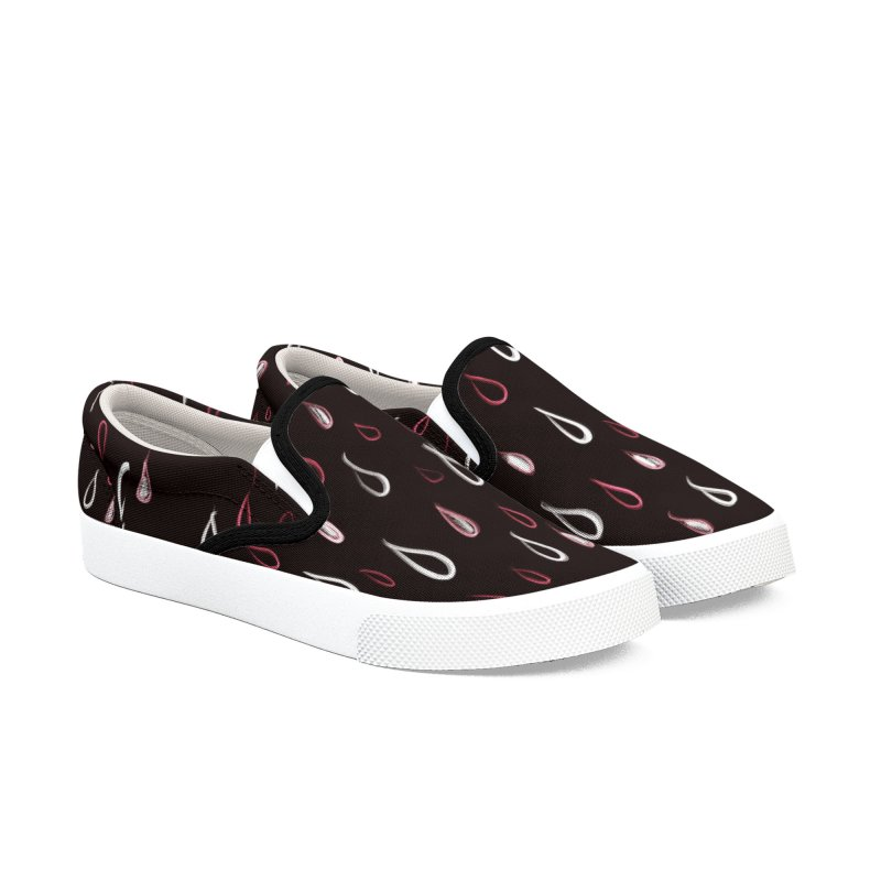 Dark White And Red Raindrops Pattern Men's Slip-On Shoes by Boriana's Artist Shop