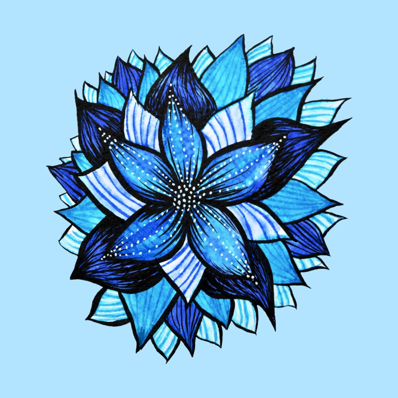 Abstract Blue Mandala Flower Zentangle Drawing Women's T-Shirt by Boriana's Artist Shop