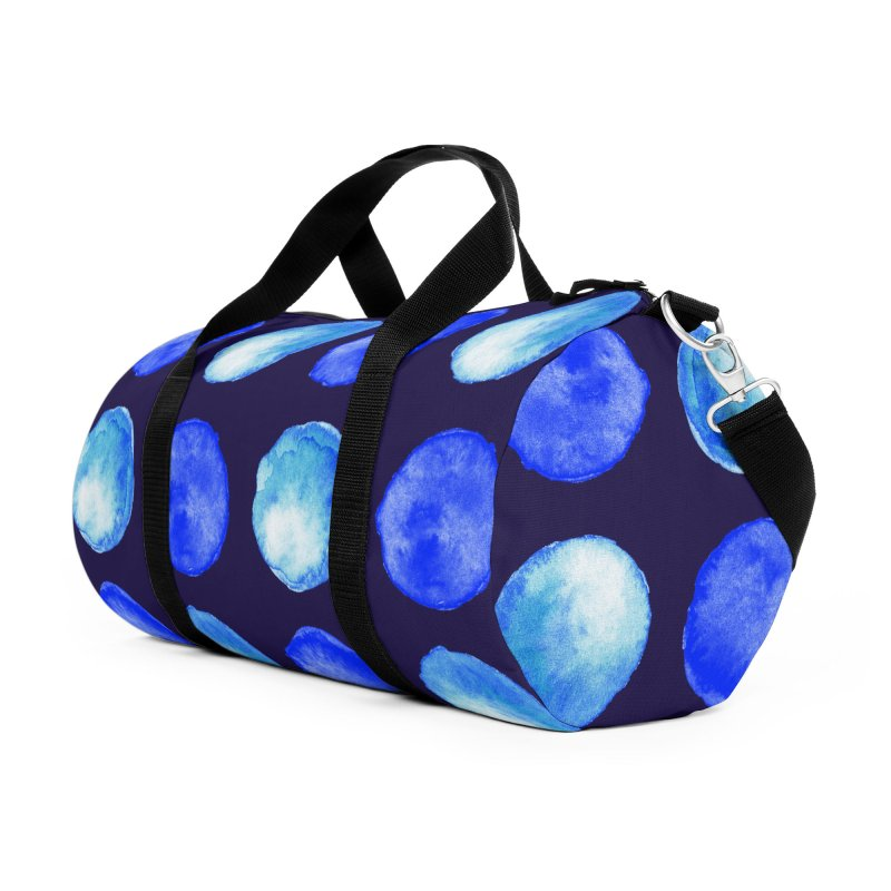 Blue Large Watercolor Dots Pattern Accessories Duffel Bag Bag by Boriana's Artist Shop