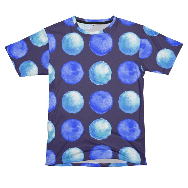 Blue Large Watercolor Dots Pattern Women's Unisex French Terry T-Shirt Cut & Sew by Boriana's Artist Shop