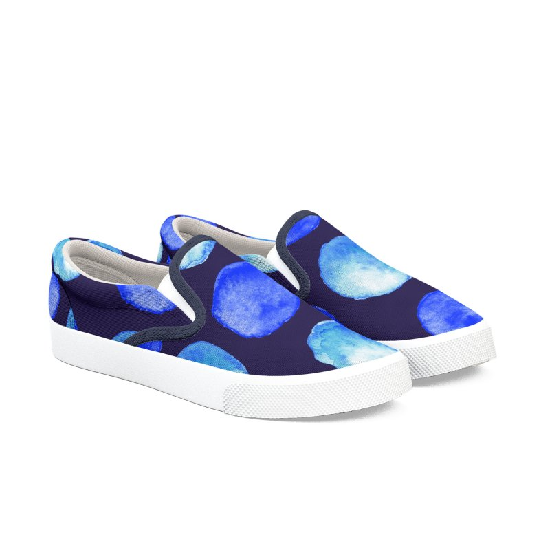 Blue Large Watercolor Dots Pattern Women's Slip-On Shoes by Boriana's Artist Shop