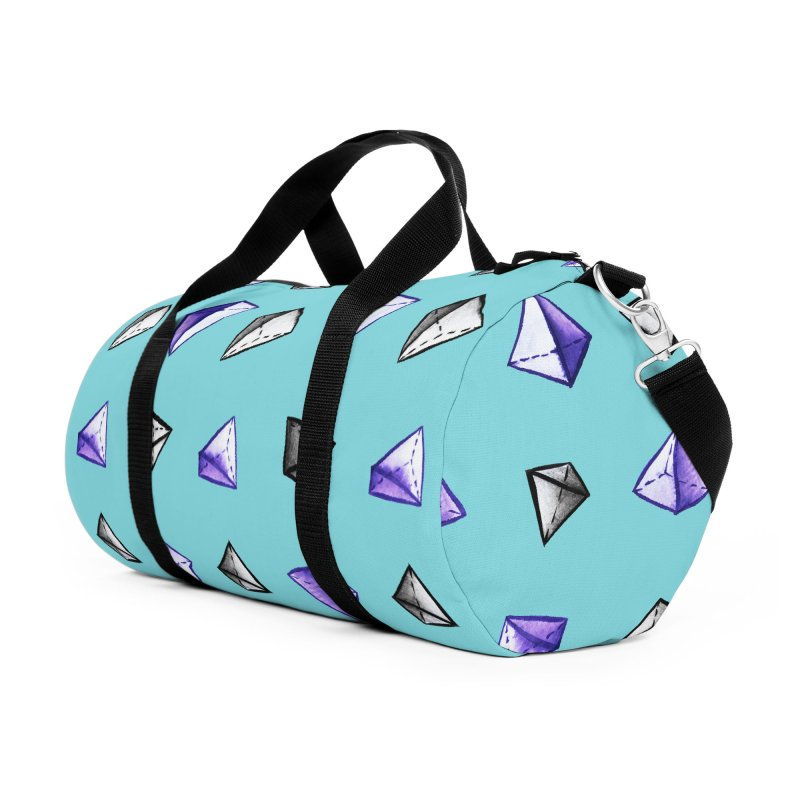 Geometric Watercolor Pyramid Pattern Geek Accessories Duffel Bag Bag by Boriana's Artist Shop
