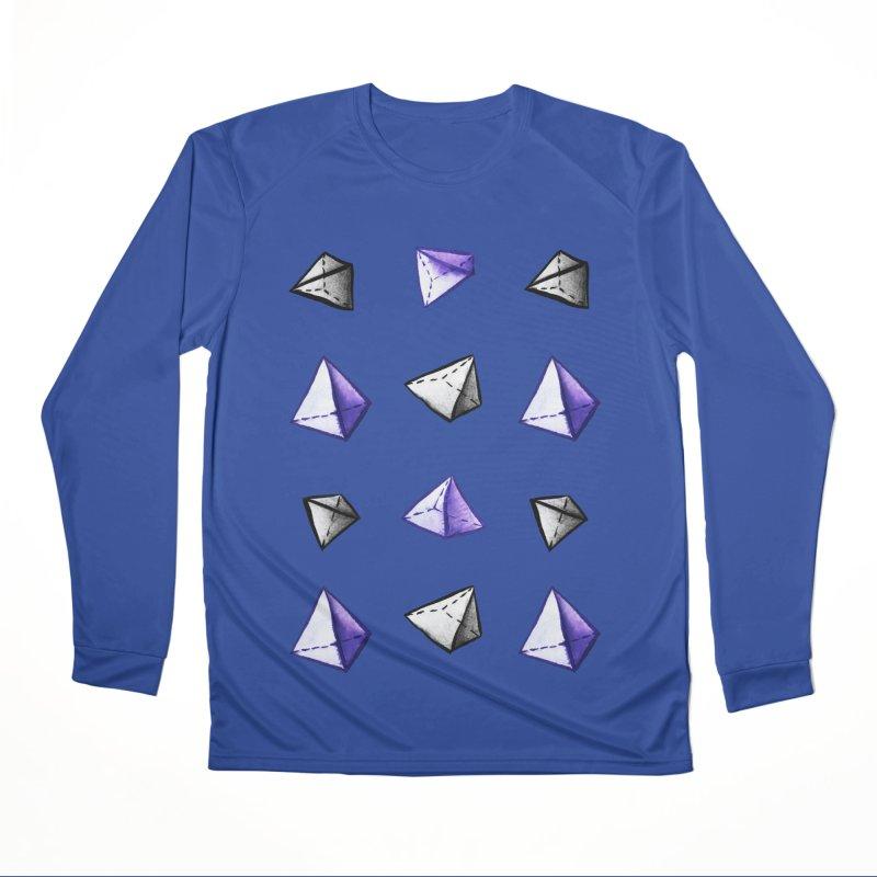 Geometric Watercolor Pyramid Pattern Geek Men's Performance Longsleeve T-Shirt by Boriana's Artist Shop