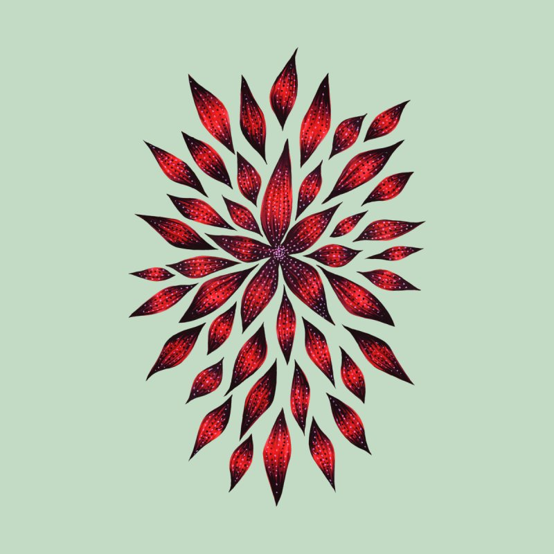 Abstract Red Flower Doodle by Boriana's Artist Shop