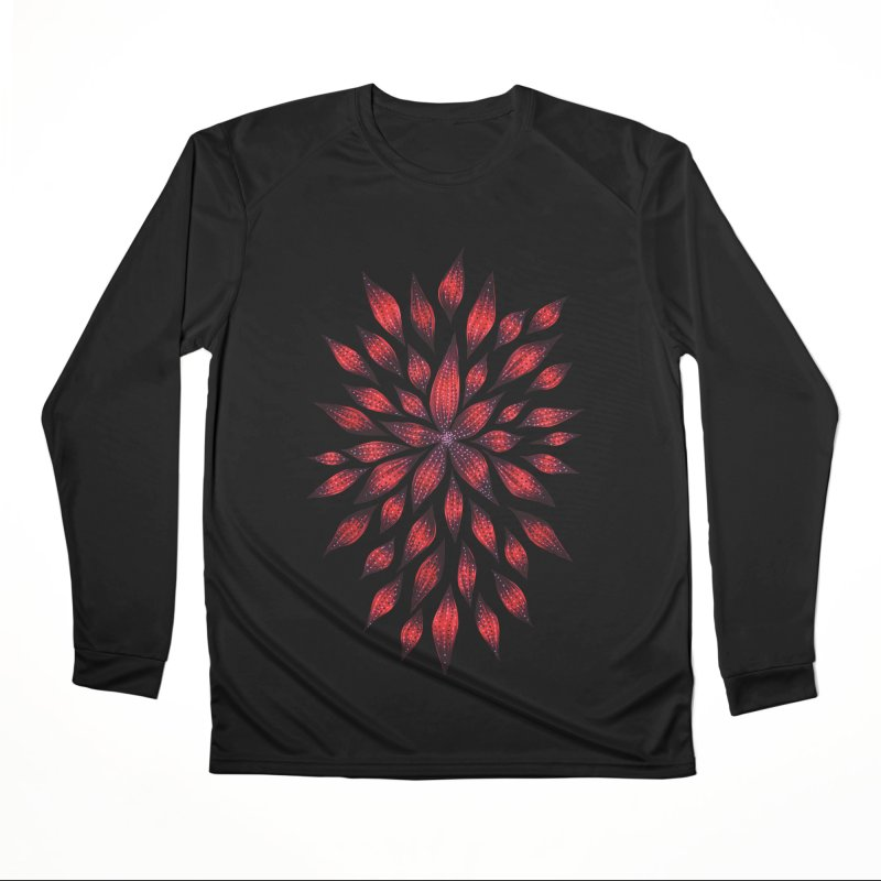 Abstract Red Flower Doodle Men's Performance Longsleeve T-Shirt by Boriana's Artist Shop