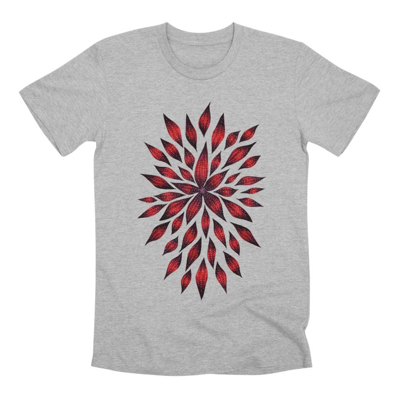 Abstract Red Flower Doodle Men's Premium T-Shirt by Boriana's Artist Shop
