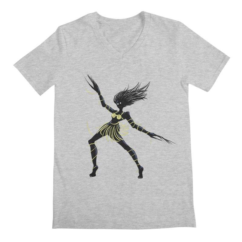 Dark Creepy Midnight Dancing Girl Men's Regular V-Neck by Boriana's Artist Shop