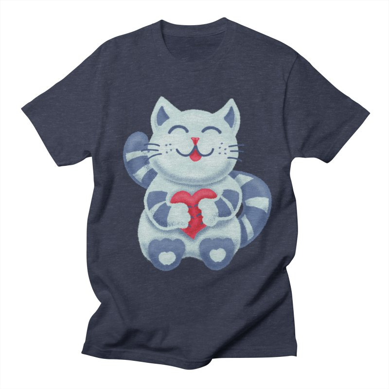 Cute Blue Kitty With Heart In Love Men's Regular T-Shirt by Boriana's Artist Shop