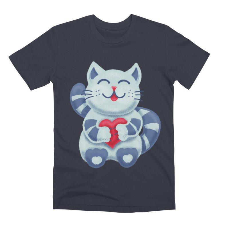 Cute Blue Kitty With Heart In Love Men's Premium T-Shirt by Boriana's Artist Shop