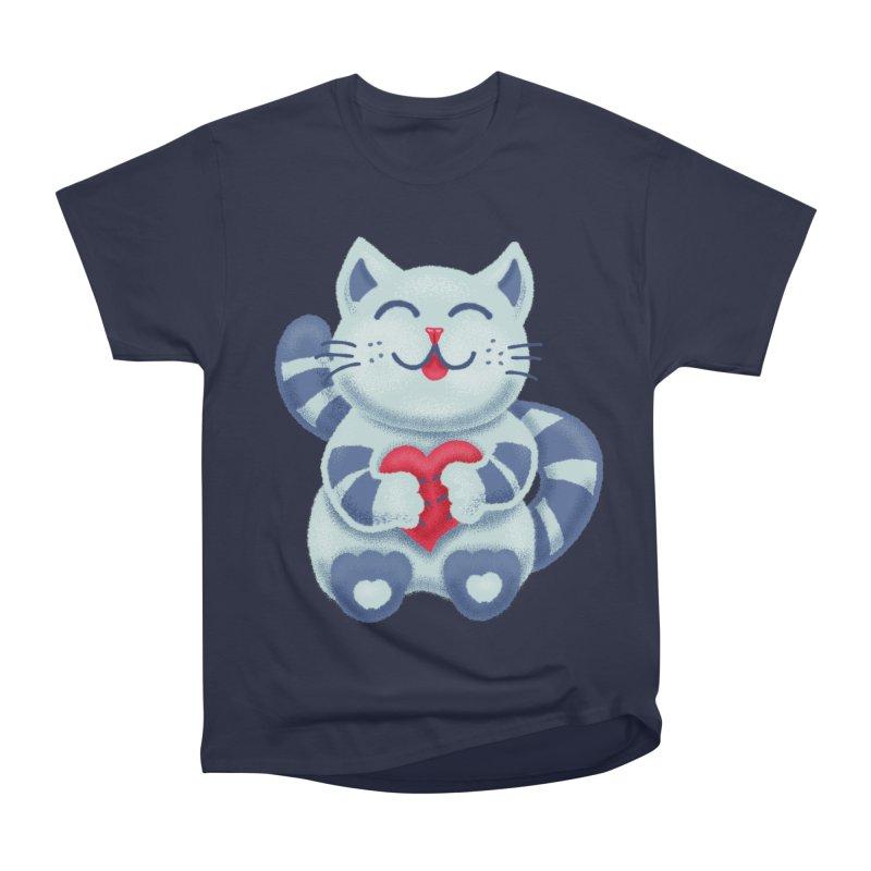Cute Blue Kitty With Heart In Love Men's Heavyweight T-Shirt by Boriana's Artist Shop