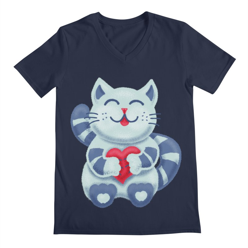 Cute Blue Kitty With Heart In Love Men's Regular V-Neck by Boriana's Artist Shop