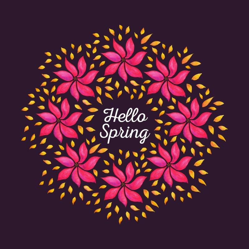 Hello Spring Watercolor Flower Wreath by Boriana's Artist Shop