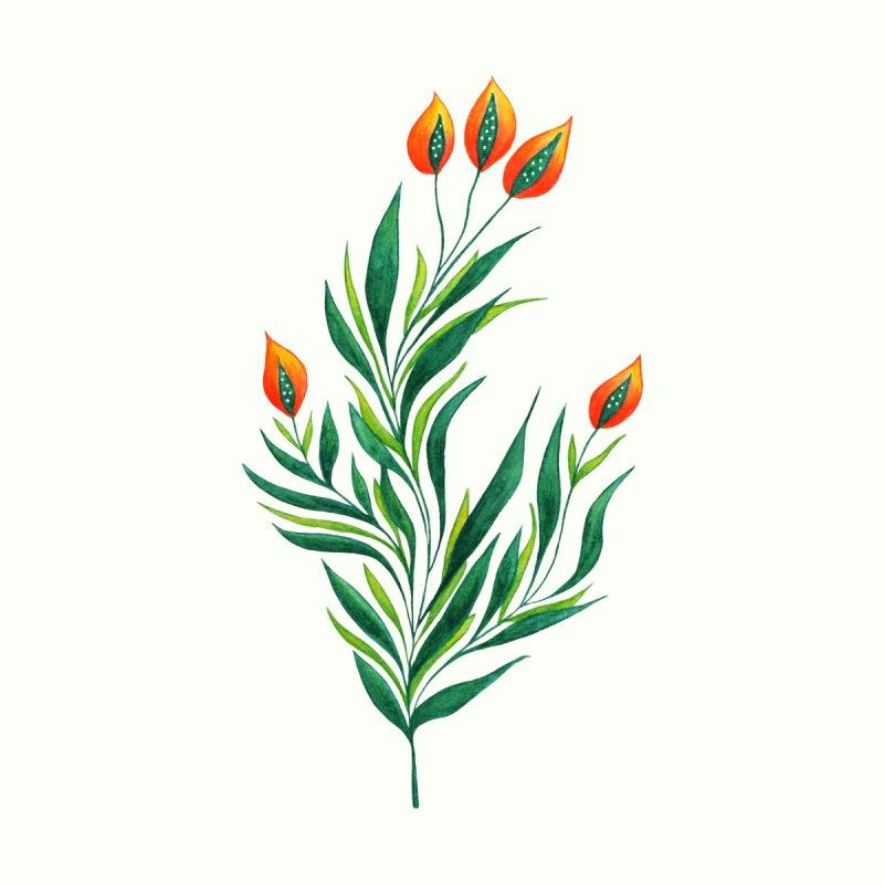 Wavy Green Plant With Orange Buds by Boriana's Artist Shop