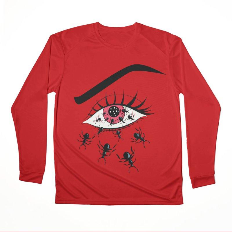 Creepy Red Eye With Ants Men's Performance Longsleeve T-Shirt by Boriana's Artist Shop