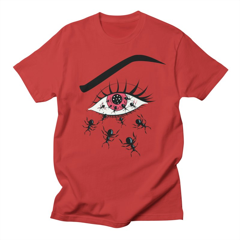 Creepy Red Eye With Ants Men's Regular T-Shirt by Boriana's Artist Shop
