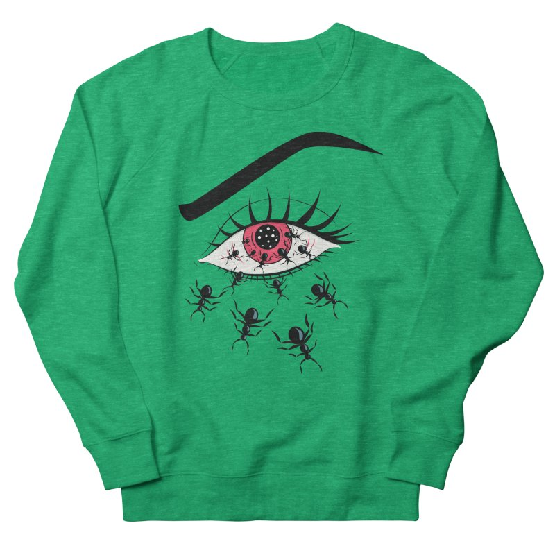 Creepy Red Eye With Ants Men's French Terry Sweatshirt by Boriana's Artist Shop