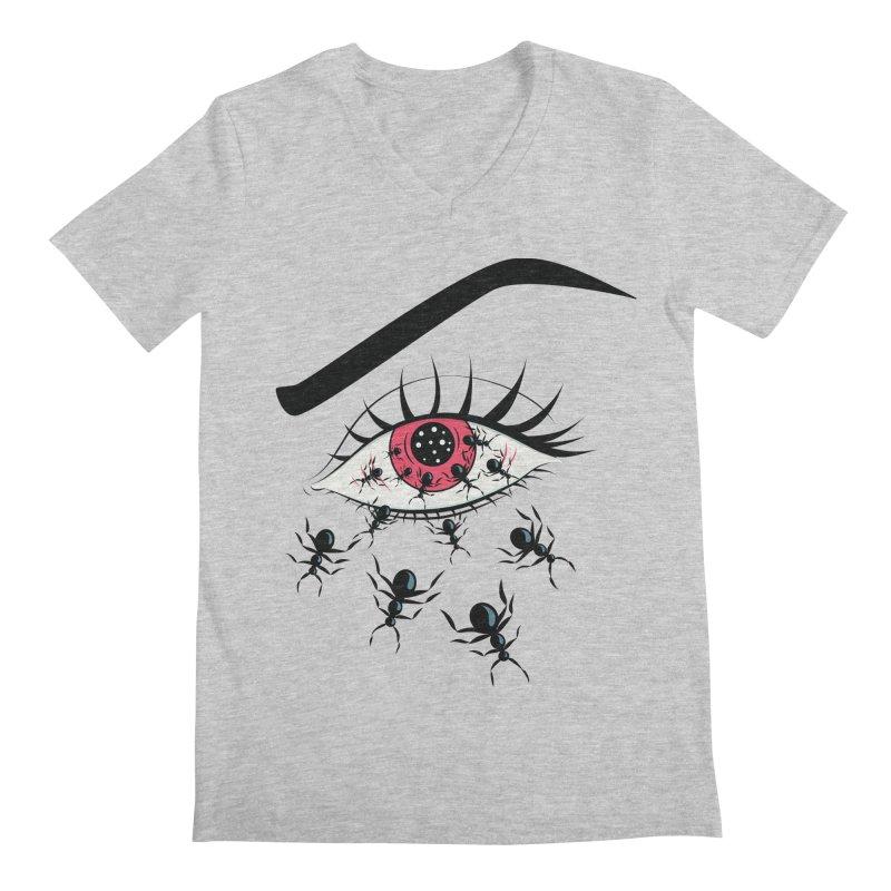 Creepy Red Eye With Ants Men's Regular V-Neck by Boriana's Artist Shop