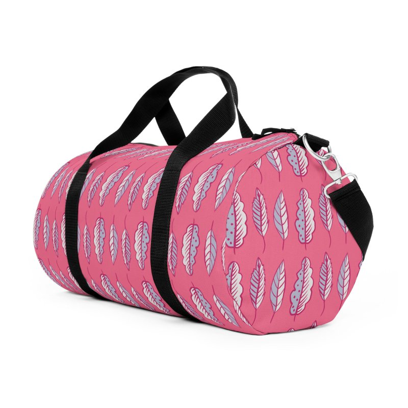 Pink Leaves Abstract Decorative Art Accessories Duffel Bag Bag by Boriana's Artist Shop