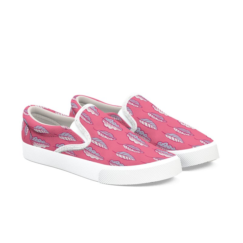 Pink Leaves Abstract Decorative Art Women's Slip-On Shoes by Boriana's Artist Shop
