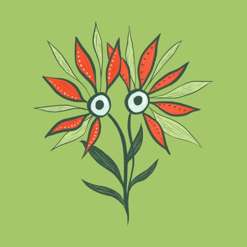 Design for Funny Flower Monster With Big Eyes