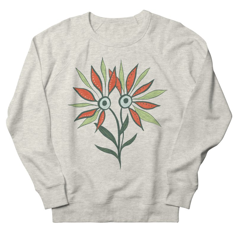 Funny Flower Monster With Big Eyes Women's French Terry Sweatshirt by Boriana's Artist Shop