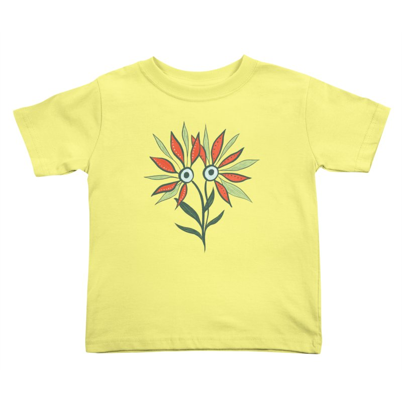 Funny Flower Monster With Big Eyes Kids Toddler T-Shirt by Boriana's Artist Shop