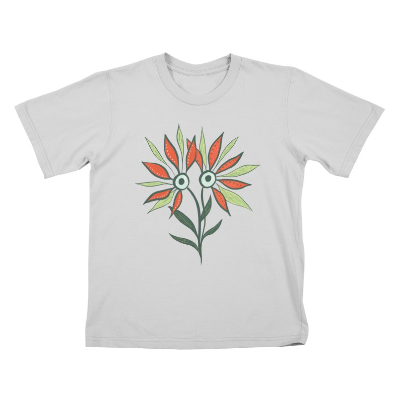 Funny Flower Monster With Big Eyes Kids T-Shirt by Boriana's Artist Shop