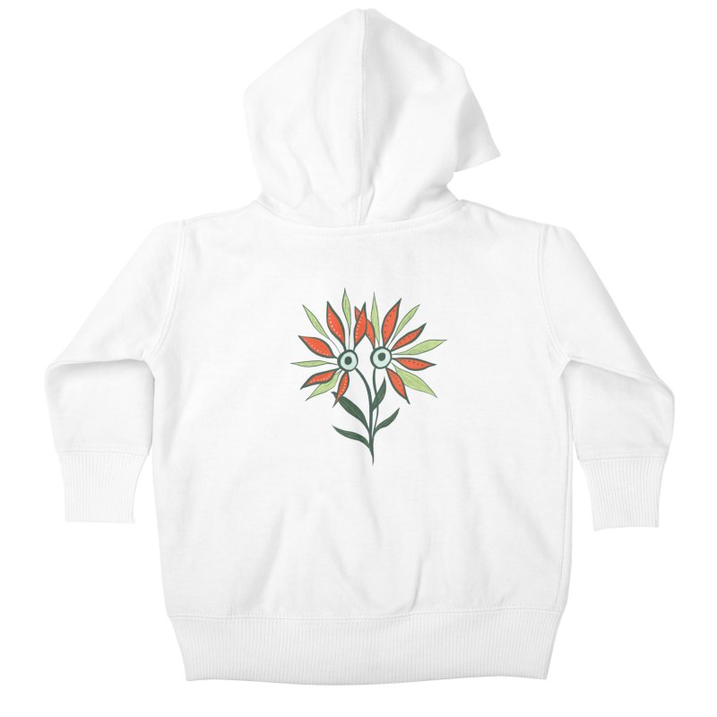 Funny Flower Monster With Big Eyes Kids Baby Zip-Up Hoody by Boriana's Artist Shop