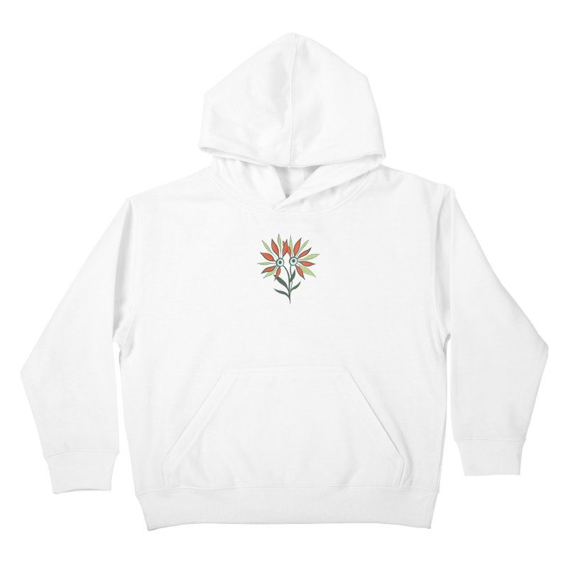 Funny Flower Monster With Big Eyes Kids Pullover Hoody by Boriana's Artist Shop