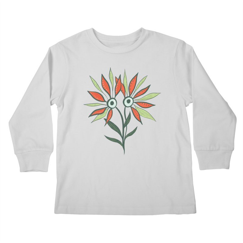Funny Flower Monster With Big Eyes Kids Longsleeve T-Shirt by Boriana's Artist Shop