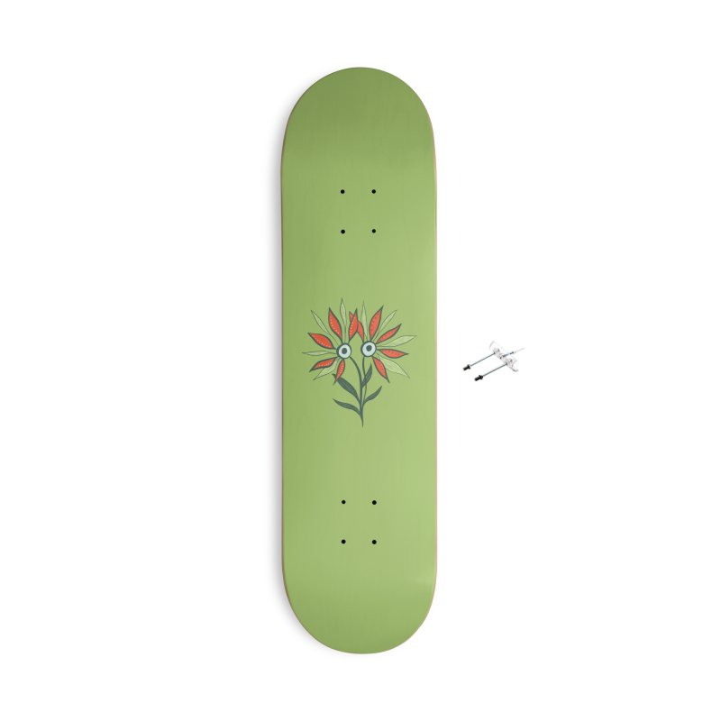 Funny Flower Monster With Big Eyes Accessories With Hanging Hardware Skateboard by Boriana's Artist Shop