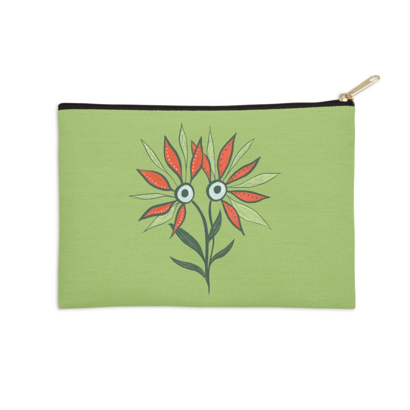 Funny Flower Monster With Big Eyes Accessories Zip Pouch by Boriana's Artist Shop