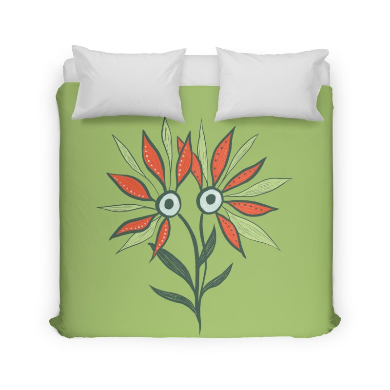 Funny Flower Monster With Big Eyes Home Duvet by Boriana's Artist Shop