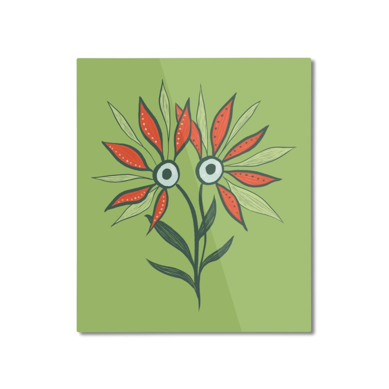 Funny Flower Monster With Big Eyes Home Mounted Aluminum Print by Boriana's Artist Shop